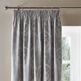 Zahra Silver Jacquard Pencil Pleat Curtains