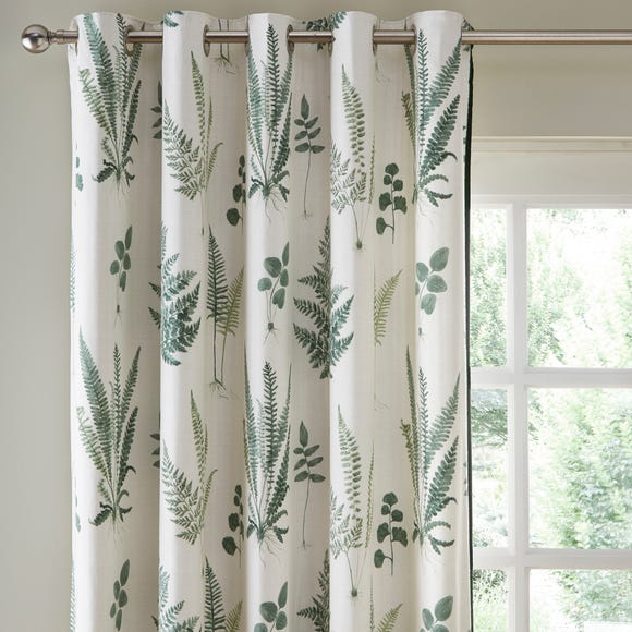 Fern Green Eyelet Curtains Green undefined