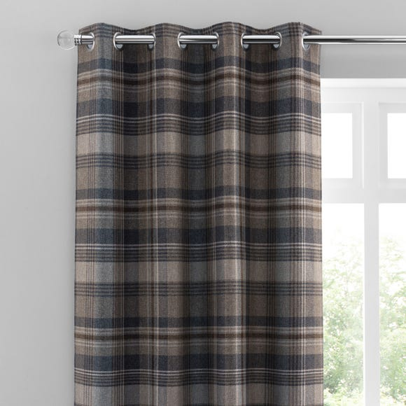 Perth Navy Check Eyelet Curtains  undefined