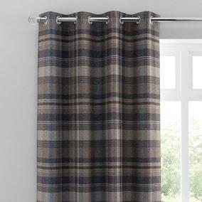 Perth Navy Check Eyelet Curtains