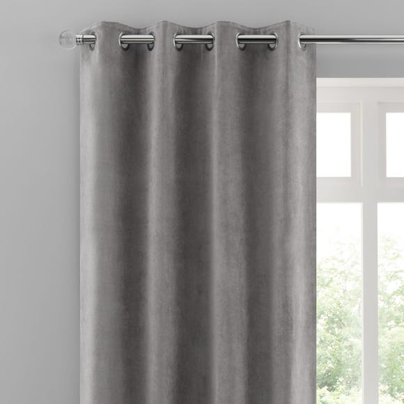 Margot Grey Matt Velour Eyelet Curtains Grey undefined