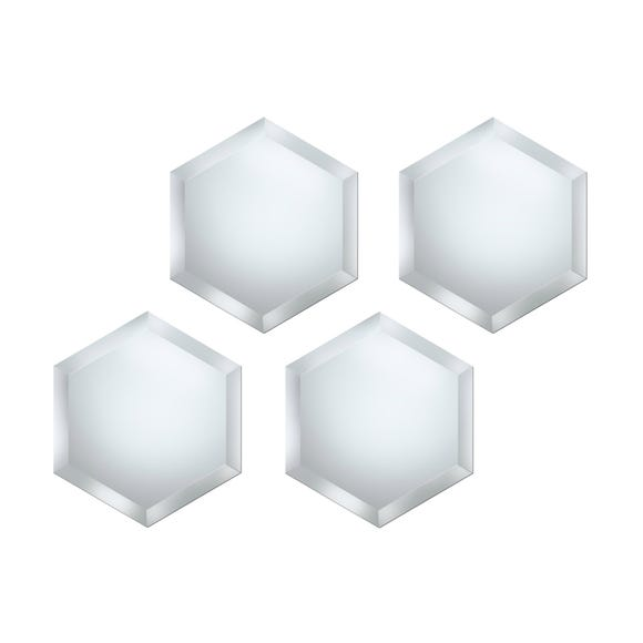 Pack of 4 Hexagonal Mirrors Clear