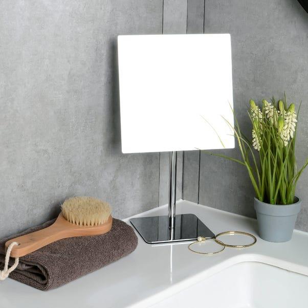 Square Pedestal Mirror Silver