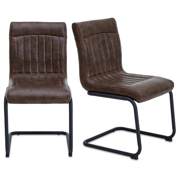 Felix Set of 2 Dining Chairs Brown PU Leather Brown
