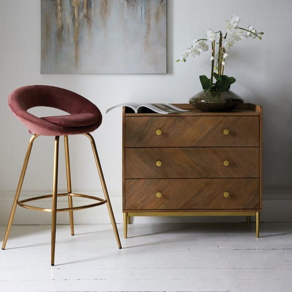 Stella Bar Stool Rose Velvet