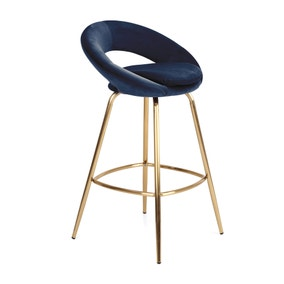 Stella Bar Stool Midnight Blue Velvet