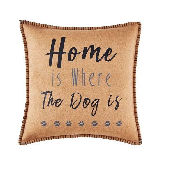 Home Is Where The Dog Is Cushion Natural