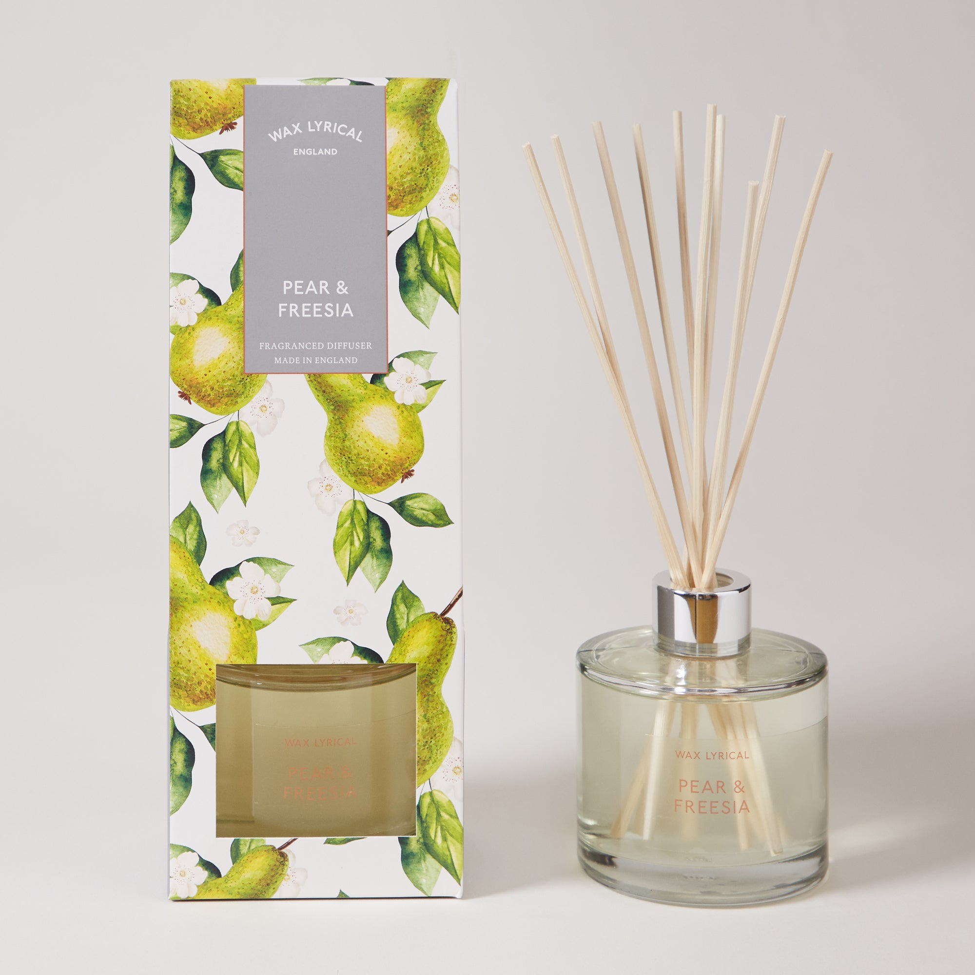 Click to view product details and reviews for Wax Lyrical Destinations Pear And Freesia Reed 200ml Diffuser Green.