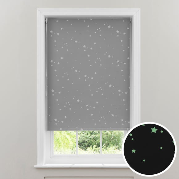 Glow in the Dark Stars Cordless Blackout Roller Blind Grey undefined