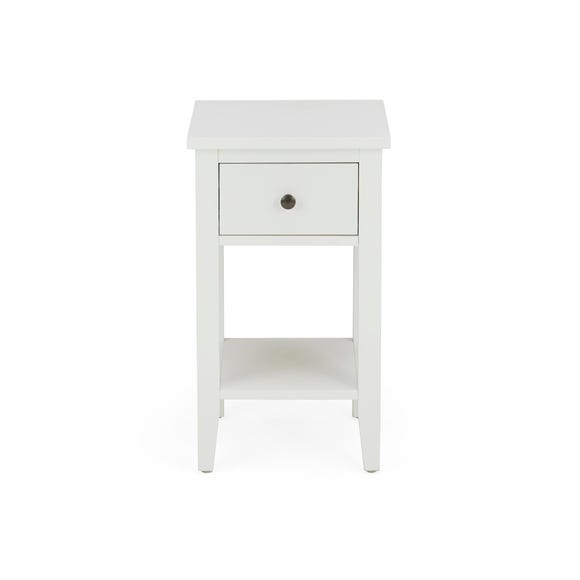 Lynton Compact White Slim Bedside Table