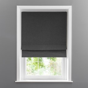 Linen Look Charcoal Blackout Roman Blind
