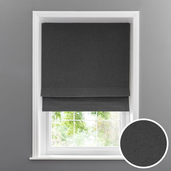 Linen Look Charcoal Blackout Roman Blind Charcoal undefined