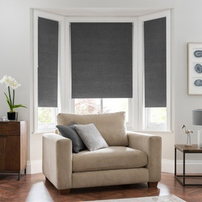 Linen Look Charcoal Blackout Roller Blind