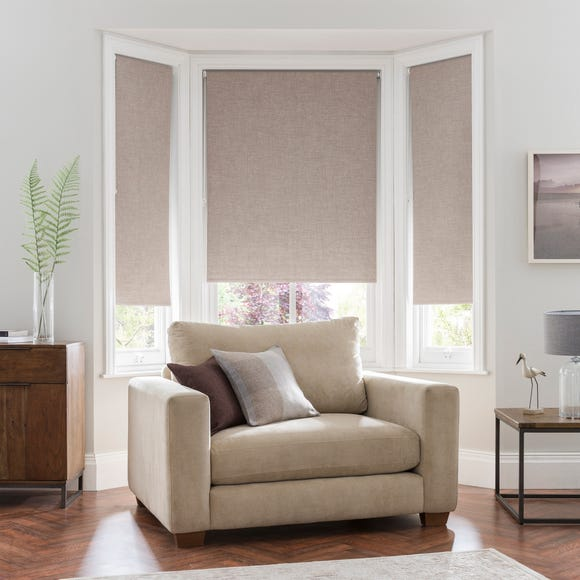 Linen Look Taupe Blackout Roller Blind Taupe undefined