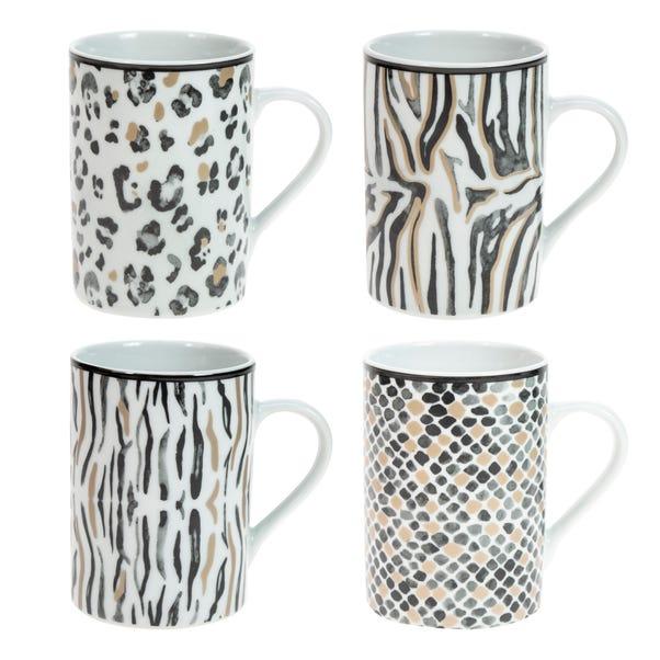 Set of 4 Animal Print Mugs MultiColoured