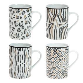 Set of 4 Animal Print Mugs