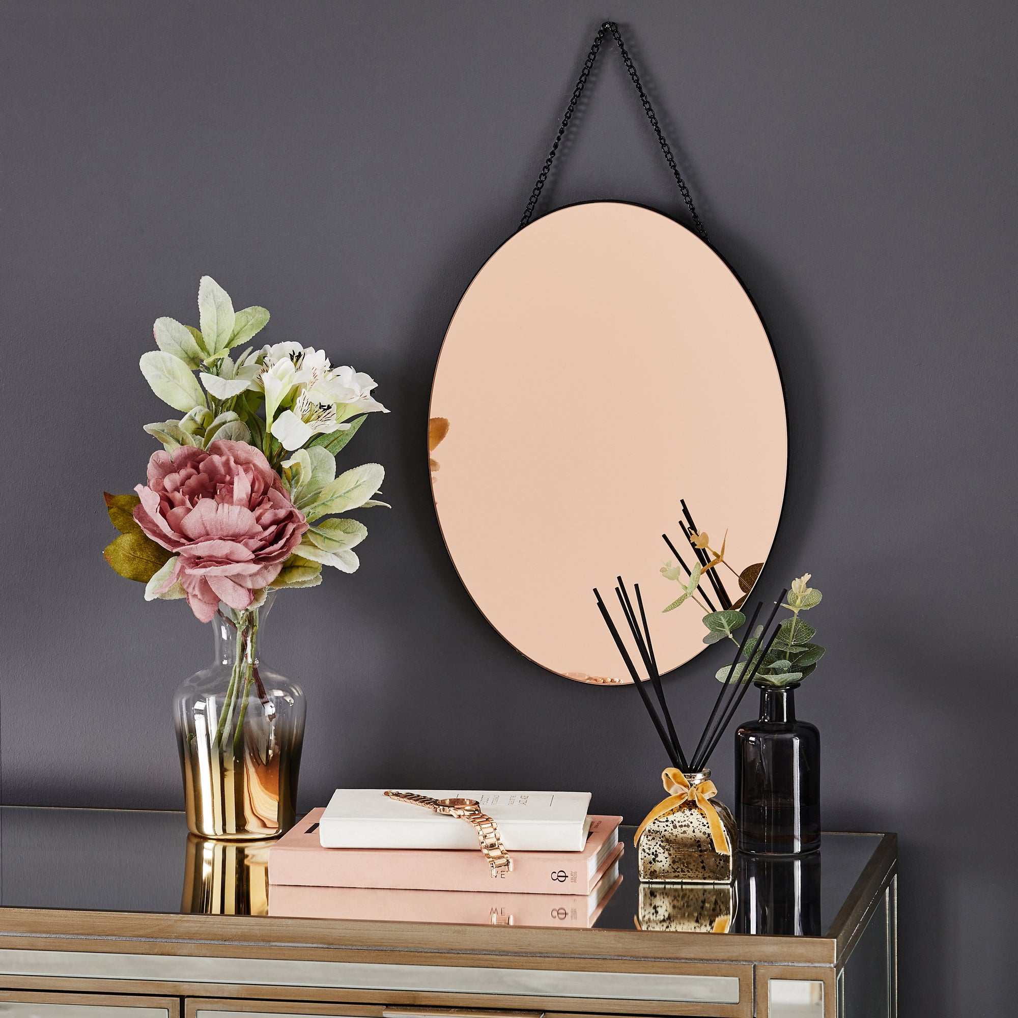Click to view product details and reviews for Oval Hanging Copper Mirror Copper.