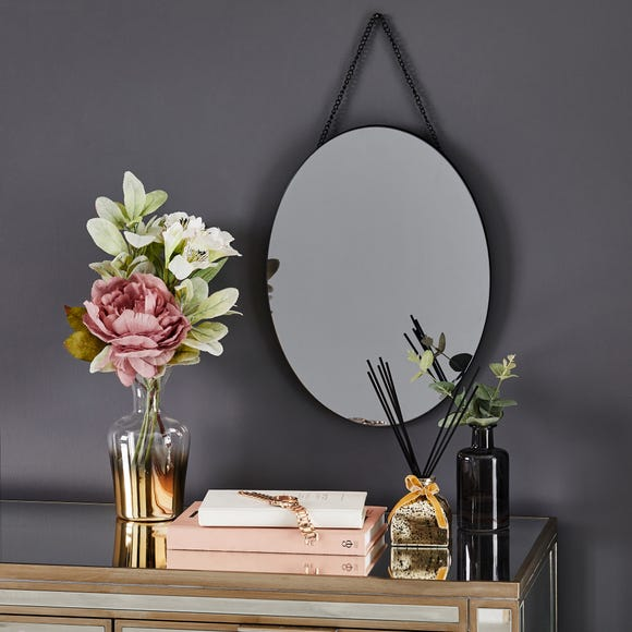 Oval Hanging Smoked Mirror Brown
