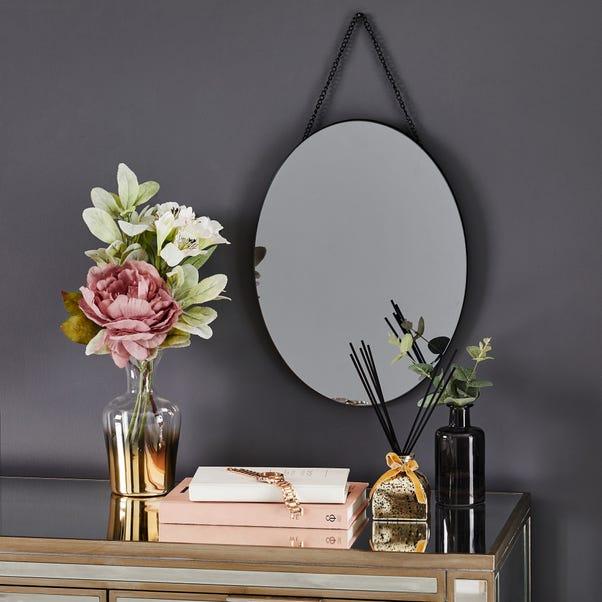 Oval Hanging Smoked Mirror Smoked