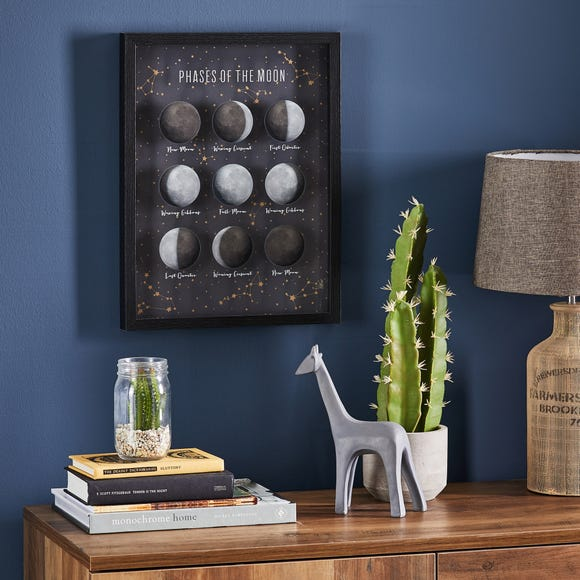 Phases of The Moon Framed Print Black