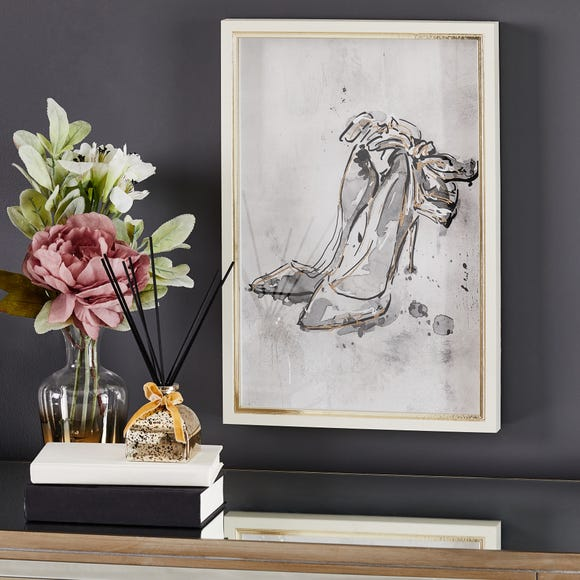 Glam Shoe Framed Picture Silver