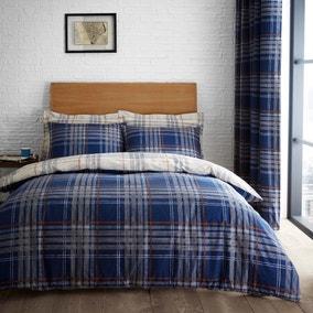 Lennox Check Navy Duvet Cover and Pillowcase Set