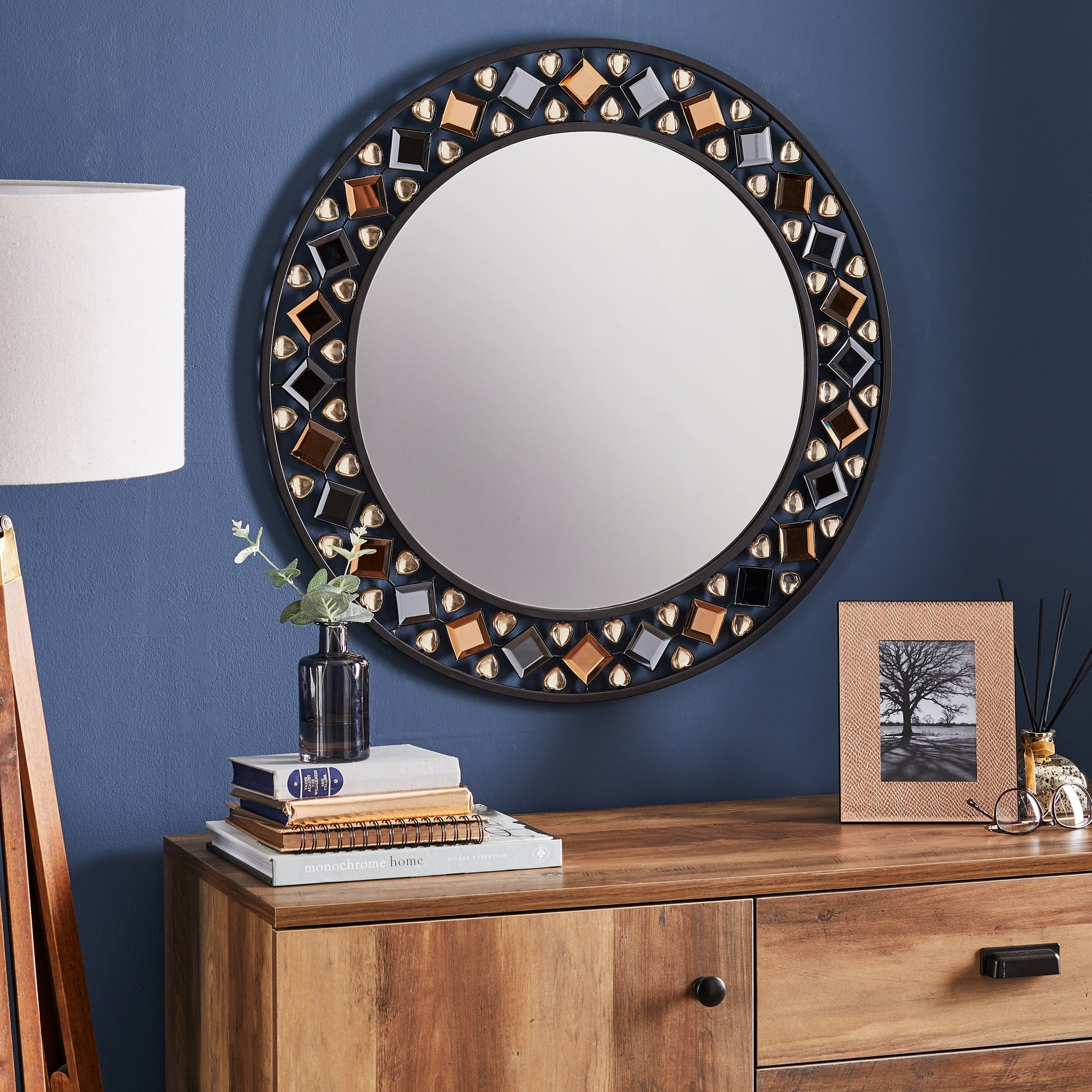 Click to view product details and reviews for Global Gem Edge Wall Mirror 68cm Black Gold.