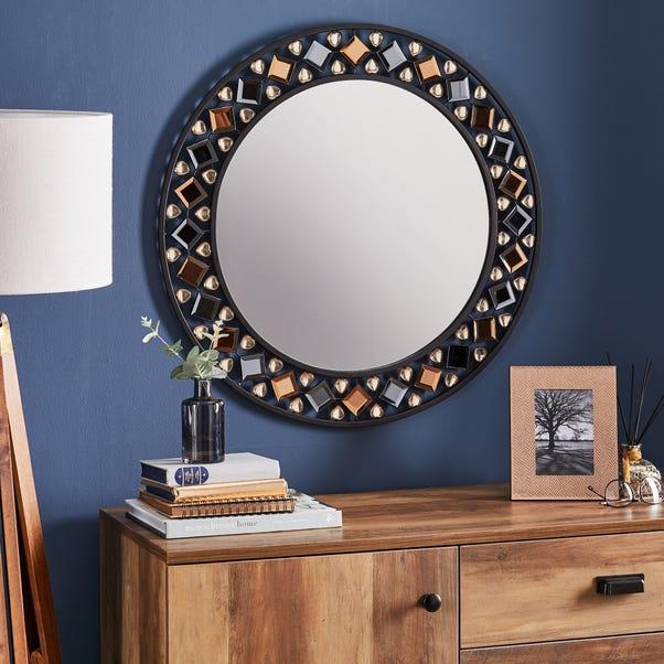 Global Gem Edge Wall Mirror 68cm Black Black