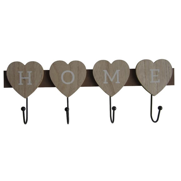Wooden Home Hearts Coat Hooks Brown