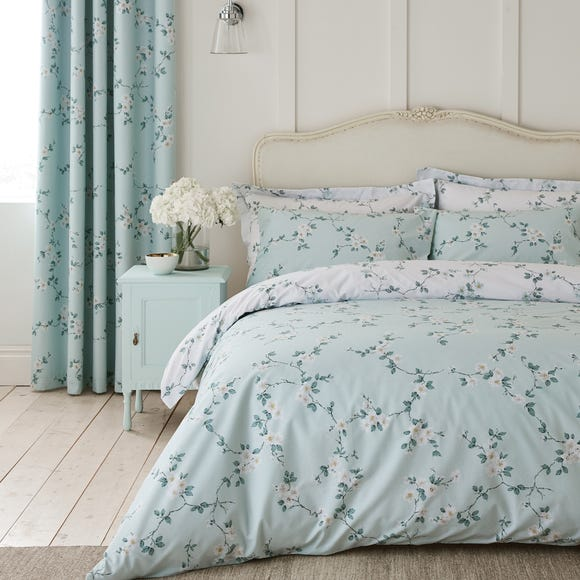 Edith Duck Egg Floral Reversible Duvet Cover and Pillowcase Set Duck Egg undefined