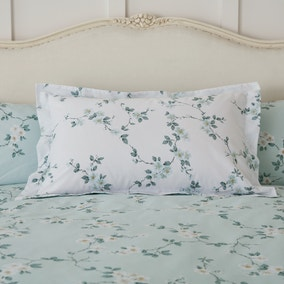 Edith Duck Egg Floral Oxford Pillowcase