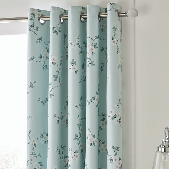 Edith Duck Egg Floral Blackout Eyelet Curtains  undefined