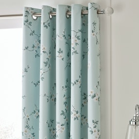 Edith Duck Egg Floral Blackout Eyelet Curtains