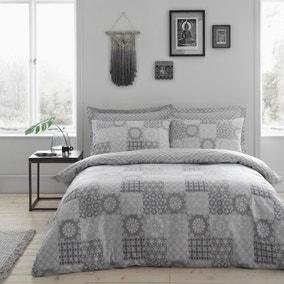 Honeysha Grey Mosaic Reversible Duvet Cover and Pillowcase Set