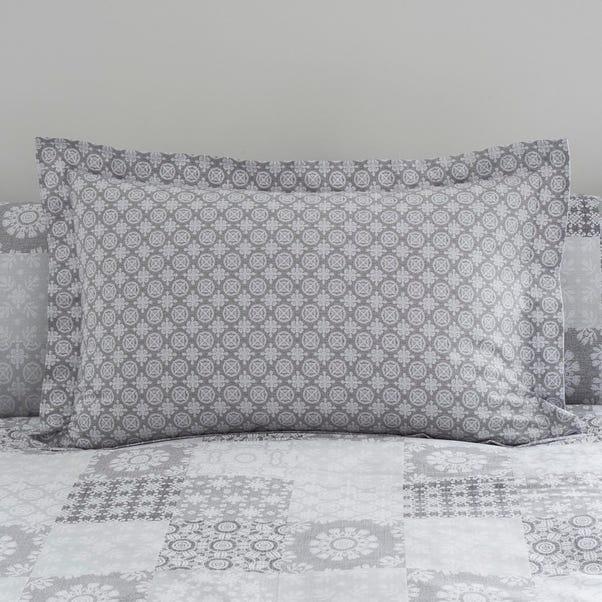 Honeysha Grey Mosaic Oxford Pillow Case Grey