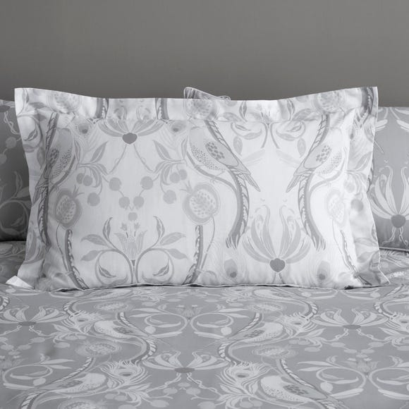 Havisham Grey Floral Reversible Oxford Pillowcase Grey