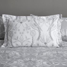 Havisham Grey Floral Reversible Oxford Pillowcase