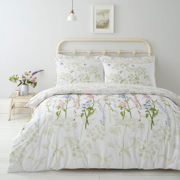 Felicity White Floral Reversible 100% Cotton Duvet Cover and Pillowcase Set White undefined