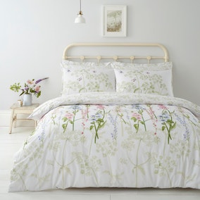 Felicity White Floral Reversible 100% Cotton Duvet Cover and Pillowcase Set
