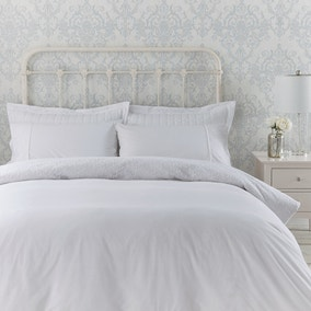 Antique Lace Embellished White Duvet Cover and Pillowcase Set