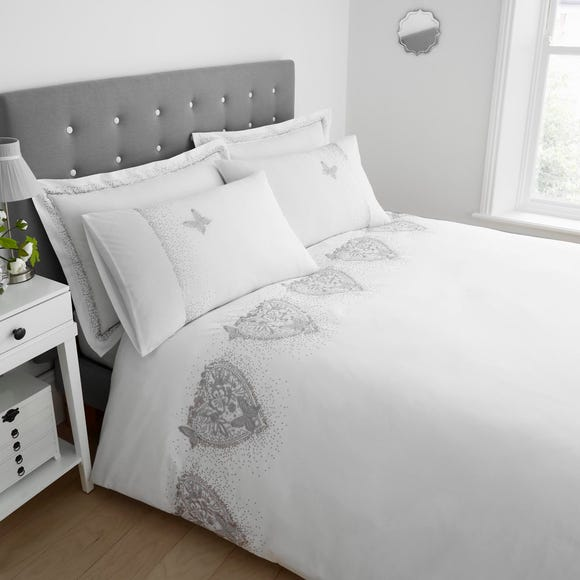 Eliza White Duvet Cover and Pillowcase Set White undefined