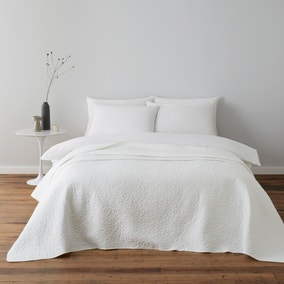 Bloom Floral White Quilted Bedspread