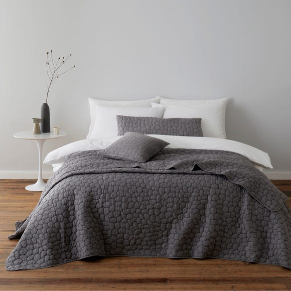 Pebble Charcoal Grey Bedspread  undefined
