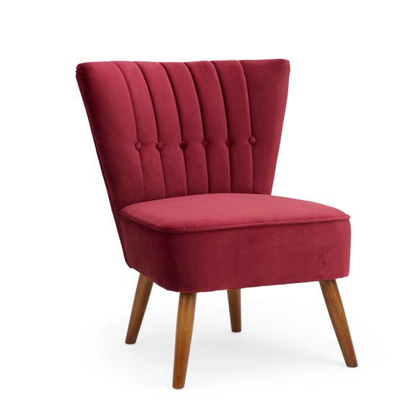 Isla Velvet Cocktail Chair - Claret Claret Isla