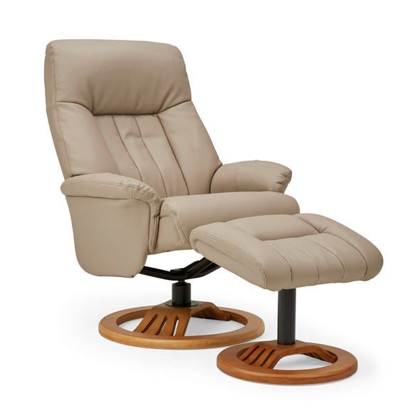 Nelson Swivel Recliner Chair and Footstool - Natural