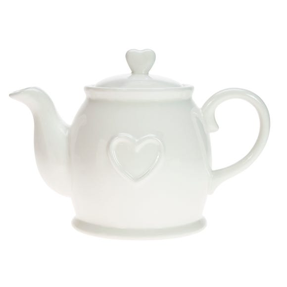 Country Heart Teapot White