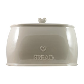 Country Heart Taupe Bread Crock