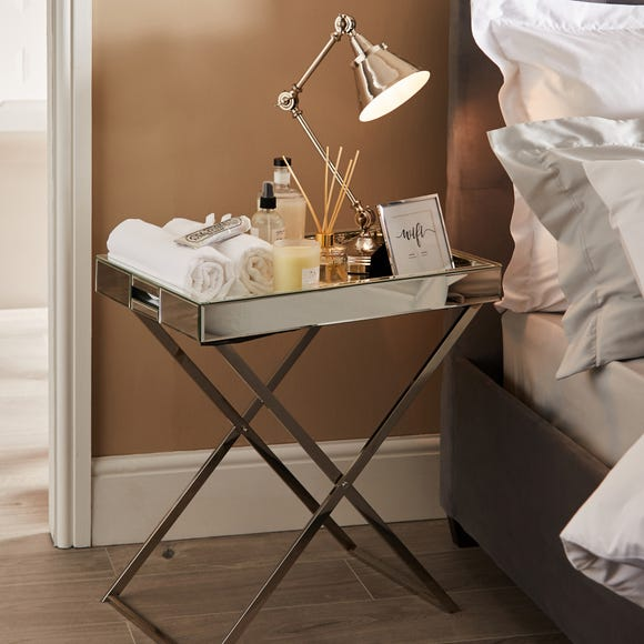 Trixie Mirrored Side Table Silver