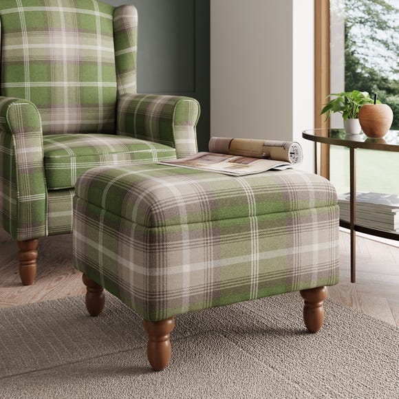 Oswald Check Storage Footstool - Green