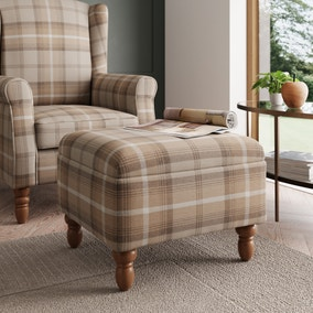 Oswald Check Storage Footstool - Natural